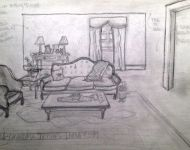 Mermaids Grandma Trish Living Room - Scene Sketch